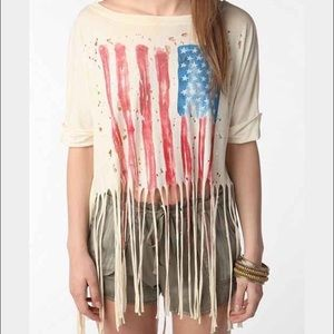 UNIF American flag distressed fringe tee